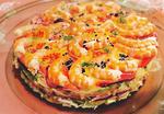 pastel de marisco y verdura